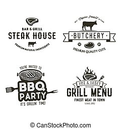 Vintage hand drawn steak house logo set, bbq party, barbecue grill badges, labels. Retro typography style. Butcher logo design with letterpress effect. Vector illustration isolated on white background.