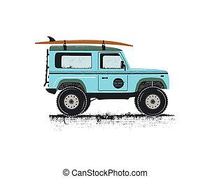 Vintage hand drawn surf car. Retro transportation with...