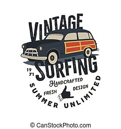Vintage hand drawn tee print vector design with retro surf car, shaka sign and typography elements. Surf print design, patch. Summer t shirt print concept isolated on white background. Stock vector