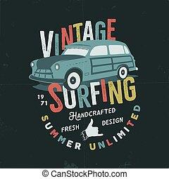 Vintage hand drawn tee print vector design with retro surf...
