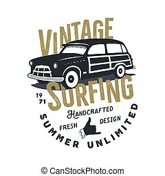 Vintage hand drawn tee print vector design with retro surf...