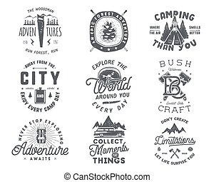 Vintage hand drawn travel badge and emblem set. Hiking labels. Outdoor adventure inspirational logos. Typography retro style. Motivational quotes for prints, t shirts. Stock vector design