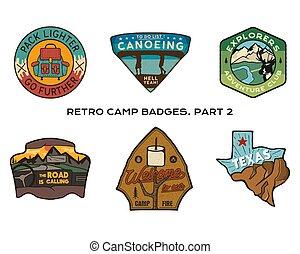 Vintage hand drawn travel badges set. Camping labels...