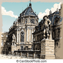Vintage Hand Drawn View of Versailles Chapel