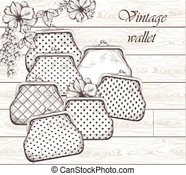 Vintage handbag, clutches on wood background vector. Line art hand drawn graphic styles