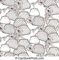 Vintage handbag, clutches pattern vector. Line art hand drawn graphic styles