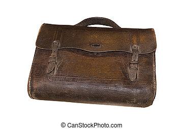 Vintage handbag made of leather - Brown retro schoolbag with...