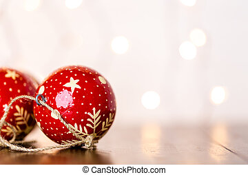 Vintage handmade Christmas ornaments on the table.