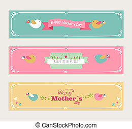 Vintage Happy Mothers day banners set - Retro cut Happy...