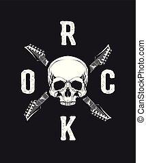 Vintage hard rock vector t-shirt logo isolated on dark background.