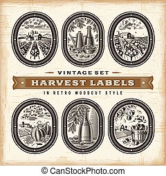 Vintage Harvest Labels Set - A set of vintage harvest labels...
