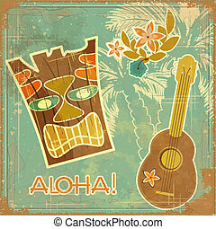 Vintage Hawaiian card - invitation to Beach party - vector...