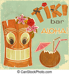 Vintage Hawaiian postcard - invitation to Tiki Bar - vector...