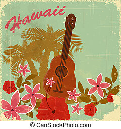 Vintage Hawaiian postcard - invitation to Beach party -...