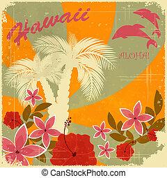 Vintage Hawaiian postcard - invitation to Beach party -...