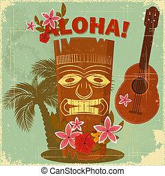Vintage Hawaiian postcard - invitation to Beach party - ...