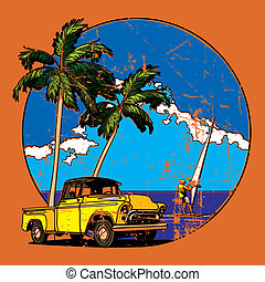 Vectorial round vignette with yellow old-fashioned pickup and two palms on sky and sea background. Image is one curve. No strokes, blends and gradients.