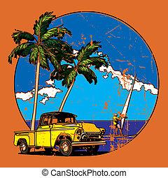 Vintage Hawaiian vignette - Vectorial round vignette with...