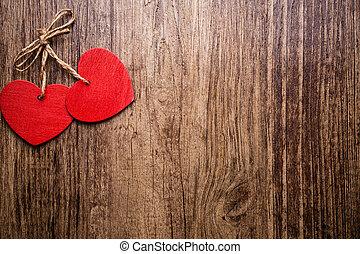 Vintage heart. - Heart on a wooden background. Vintage...