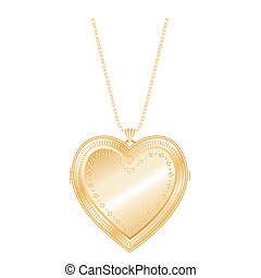 Vintage Heart Locket Chain Necklace - Vintage embossed gold...