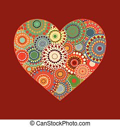 Vintage heart on a red background