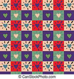 Vintage Hearts - Seamless of Hearts. Vector art