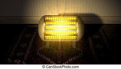 Vintage Heater On Persian Carpet - A cylindrical shaped...