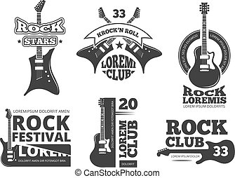 Vintage heavy rock, jazz band, guitar shop, music vector logos and labels set with acoustic guitars