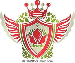 Vintage heraldic coat of arms created with imperial crown and lily flower royal symbol. Eco friendly product symbol, best quality theme illustration, winged defense shield.