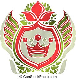 Vintage heraldic coat of arms created with imperial crown and lily flower royal symbol. Eco friendly product symbol , best quality theme illustration, defense shield made with cartouche.