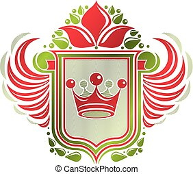 Vintage heraldic coat of arms created with imperial crown and lily flower royal symbol. Eco friendly product symbol, best quality theme illustration, defense shield made with cartouche.