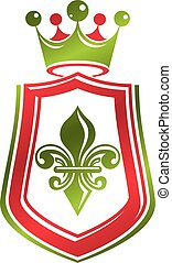 Vintage heraldic emblem created with monarch crown and lily flower royal symbol. Best quality product symbol, organic food theme illustration, guard shield.