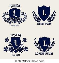 Vintage heraldic floral shields