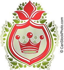 Vintage heraldic insignia made with monarch crown and lily flower royal symbol. Eco friendly product symbol, king quality theme illustration, protection shield.