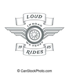 Vintage heraldic motorcycle label isolated on white...