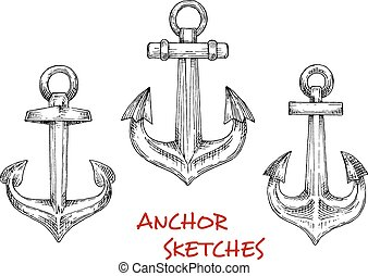 Vintage heraldic nautical anchors sketches
