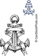 Vintage heraldic sketched anchor with ribbons