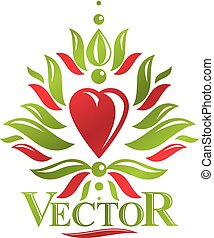 Vintage heraldic vector emblem created with lily flower royal symbol and red romantic heart shape. Eco product symbol, organic theme element for design.