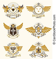 Vintage heraldry design templates, vector emblems created...
