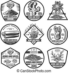 Vintage Herbs And Spices Labels Set