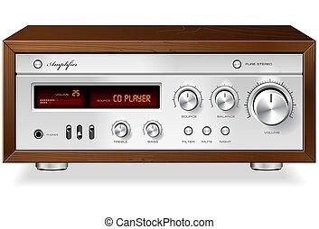 Vintage Hi-Fi analog Stereo Amplifier detailed vector