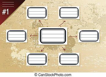 Vintage hierarchy diagram - Vintage social diagram with...
