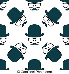 Vintage hipster hat and mustache symbol seamless pattern