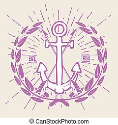 Vintage Hipster Logo Crossed Arrows with Anchor Vector