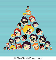 Vintage hipsters faces triangle.