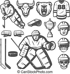 Vintage Hockey Elements Set - Set of isolated monochrome...