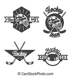 vintage Hockey emblems - Vintage Ice hockey labels, badges ...