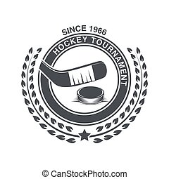 Vintage hockey icon in the old style.
