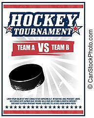 Hockey Tournament red poster vector design with a puck spinning on ice
