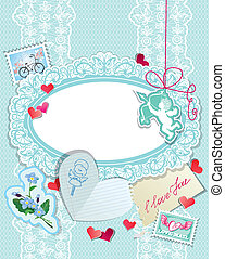 Vintage Holiday card with papers, hearts, angel, stamps, calligraphic text I love you on blue lace background
